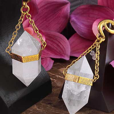 Solid Brass and Terminated Quartz Weights