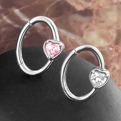 CZ Heart Oval Clicker