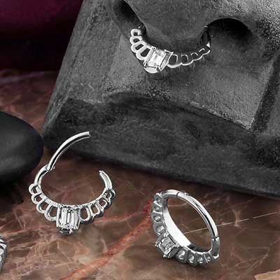 CZ Platform Septum Clicker Ring