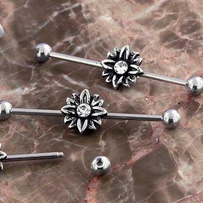 Crystal Flower Industrial Barbell