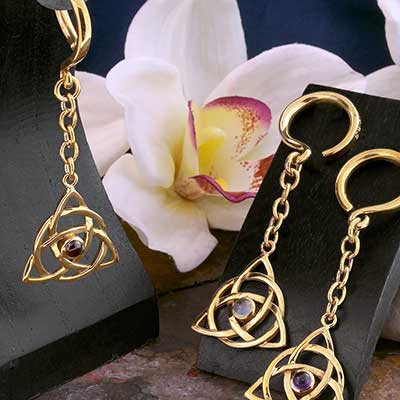 Brass Hanging Celtic Triangle Weights