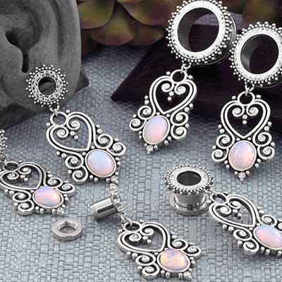 Ornate Opalite Heart Eyelets
