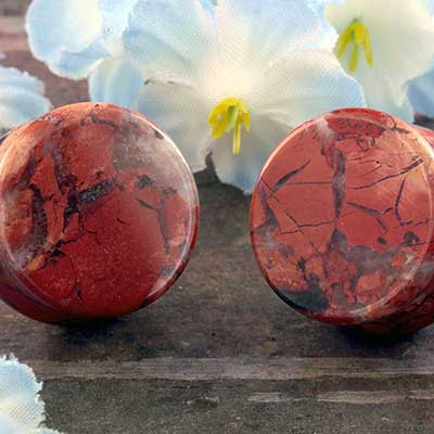 Double Flare Red Brecciated Jasper Plugs