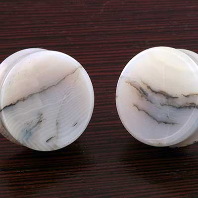 Double Flare Grey Agate Plugs