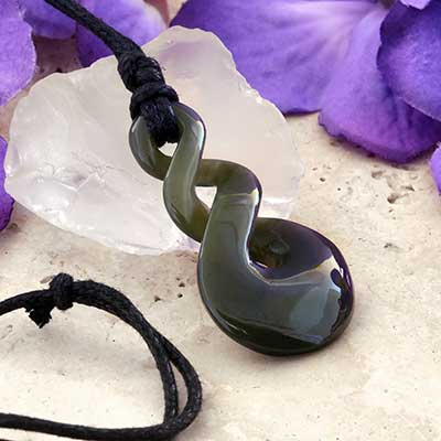 Nephrite Jade Spiral Necklace