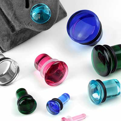 Single Flare Solid Color Glass Plugs