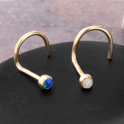 14K Gold Bezel Set Opal Nosescrew