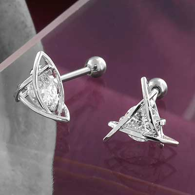 Woven CZ Triangle Barbell
