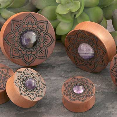 Mandala Saba Wood Plugs with Amethyst