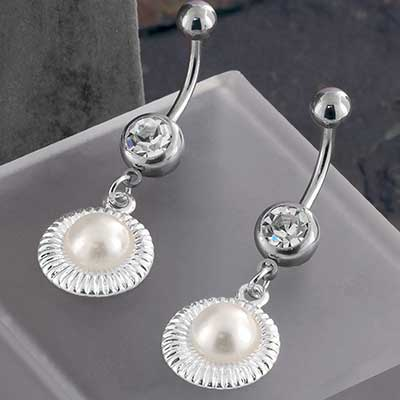Framed Pearl Dangle Navel