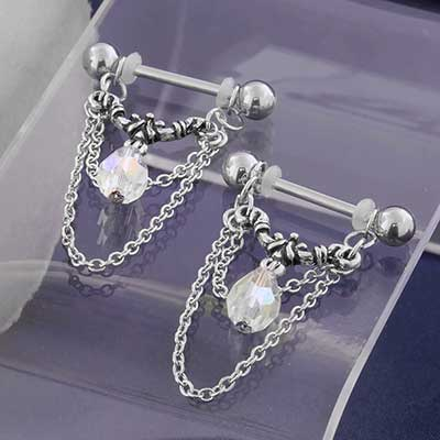 Aurora Nipple Barbell with Chains