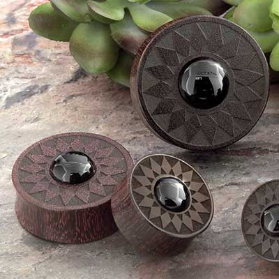 Dark Tamarind Wood Sun Plugs with Onyx