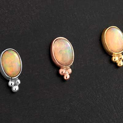 14k Gold Opal Swoon Threadless End