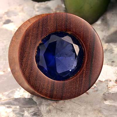 Olivewood Plugs with Blue CZ Inlays