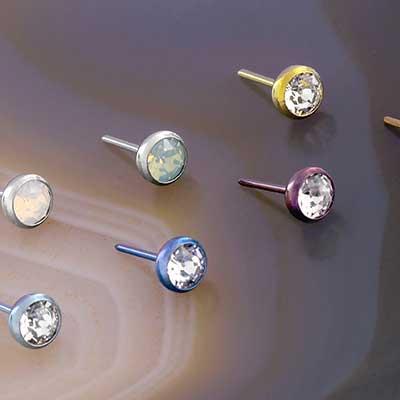PRE-ORDER Titanium Threadless Bezel Set Gem End