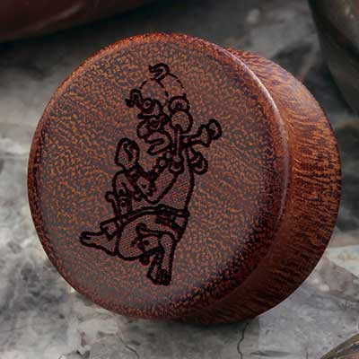 Osage Orange Mayan Image Plugs