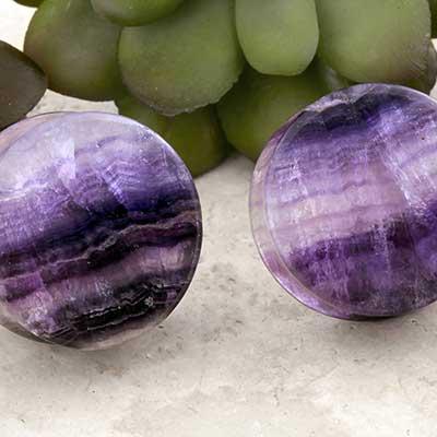 Striped Purple Fluorite Plugs