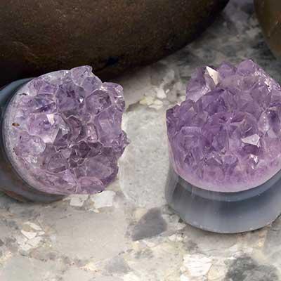 Rough Amethyst Druzy Stone Plugs