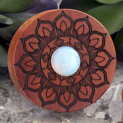 Opalite And Saba Wood Mandala Plugs