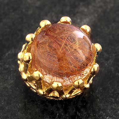 18K Gold Rutilated Quartz Threaded End