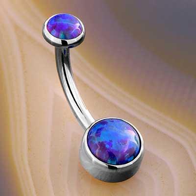 Titanium Bezel Set Opal Navel (Sleep Lavender Opal)
