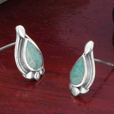 Floral Turquoise Drop Stud Earrings