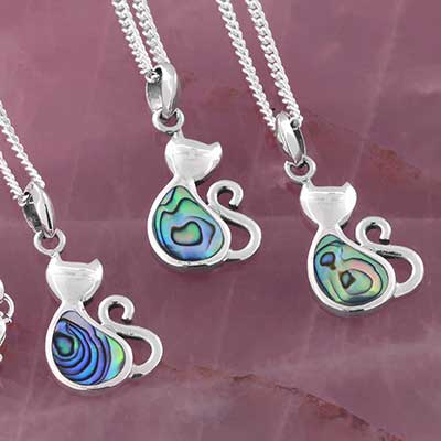 Abalone Cat Necklace