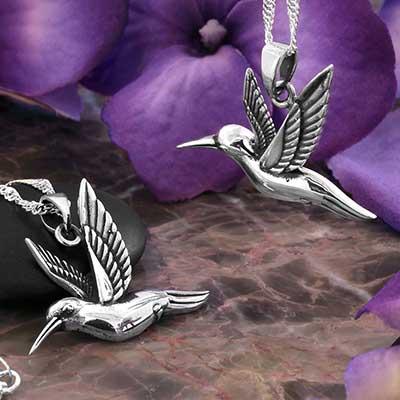 Hummingbird in Flight Necklace