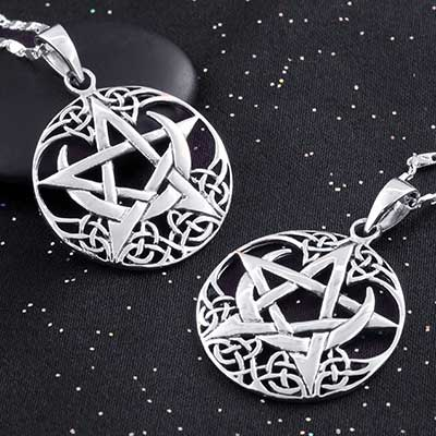 Moon and Star Celtic Knot Necklace