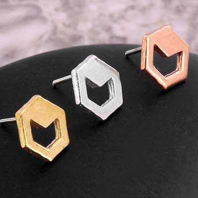 Solid 14k Gold Hollow Chevron Threadless End