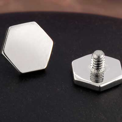 18K White Gold Hexagon Threaded End