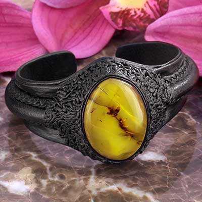 Leather and Amber Cuff Bracelet