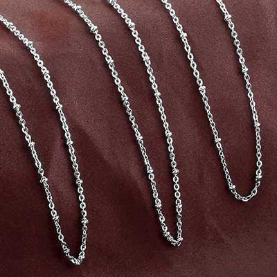 Beaded Flat Link Necklace Chain