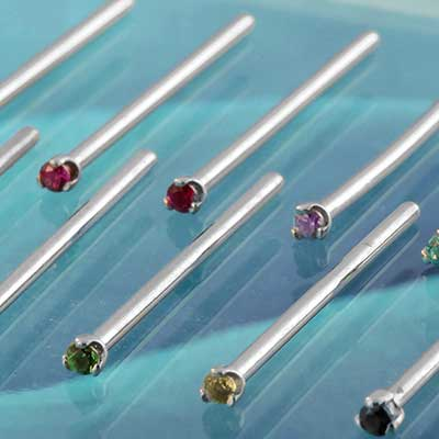 Steel Straight Prong Set Gem Nosescrew