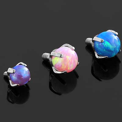 Prong Set Opal Ball Threaded End