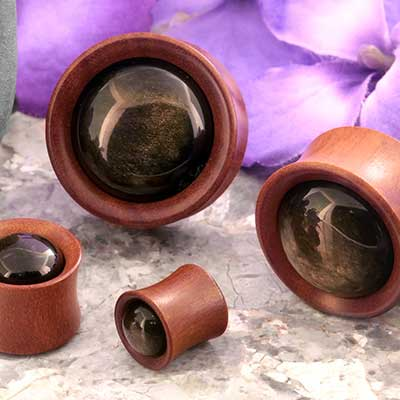 Saba Wood Plugs with Golden Obsidian