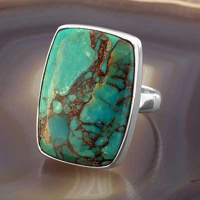 Rectangle Blue Bronze Boulder Ring