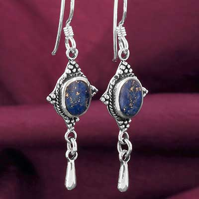Silver and Lapis Drop Earrings