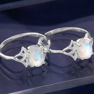 Silver and Rainbow Moonstone Elven Ring