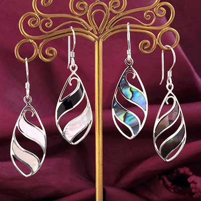 Swirling Shell and Silver Earrings