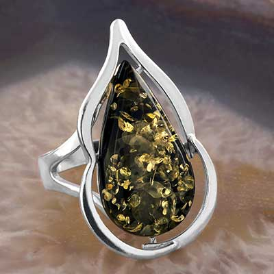 Green Amber Dew Drop Ring