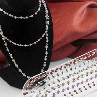 Genuine Gemstone and Silver Wrap Necklace