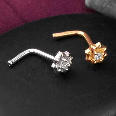 14k Gold Gemmed Starburst Straight Nosescrew