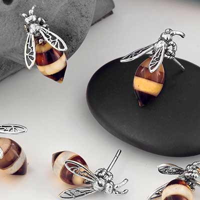 Silver and Amber Bumble Bee Earrings