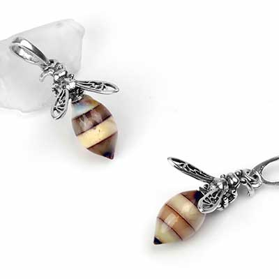 Silver and Amber Bumble Bee Pendant