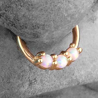 14k Gold 3-Prong Set White Opal Clicker