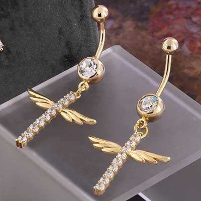 Gold Angelic Gemmed Dangle Navel