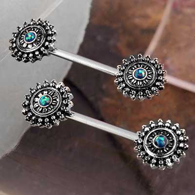 Sunburst Opal Nipple Barbell