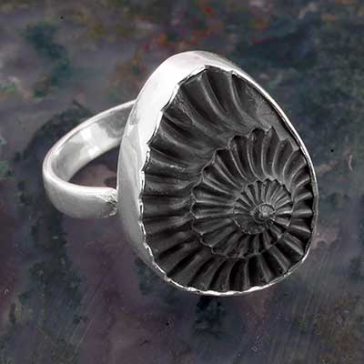 Black Spiraling Ammonite Adjustable Ring