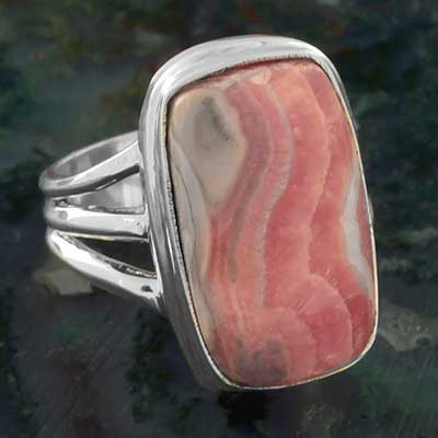Rectangle Rhodochrosite Ring